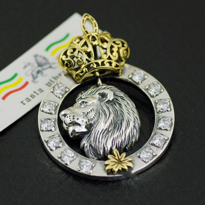 Original 925 Sterling Silver Rasta vibrations (RV) Lion King Gothic Silver pendant