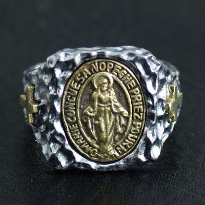 Japan import, golden holy lady Maria Gothic Style Silver Gothic Ring