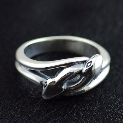 Japan import, Retro style 925 Sterling Silver double snake Ring