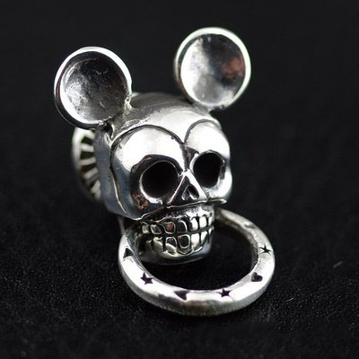 Japan import, 925 Sterling Silver Mickey skeleton and clip head, clip
