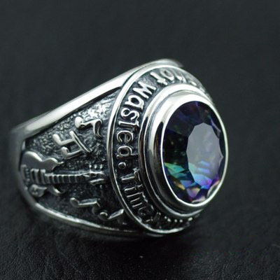 Japan import, Original GV new -England style multi-colored colored stones Silver Gothic Ring