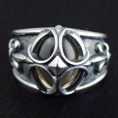 Japan import, Male Design Citrine ring surface Gothic Style cross flower anchor Silver Gothic Ring
