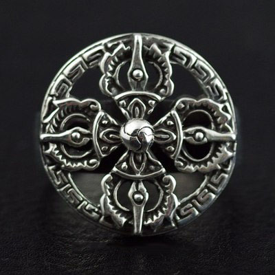 Japan import, Retro style cross golden metallic ring surface 925 Sterling Silver Ring
