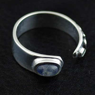 Japan import, set with natural moonstone 925 Sterling Silver open Ring
