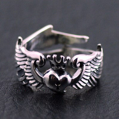 Japan import, 925 Sterling Silver Female Design Original GVangel with hearts open Ring tail ring