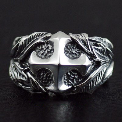 Japan import, Male Design green leaves straight cross Gothic Style 925 Sterling Silver Ring