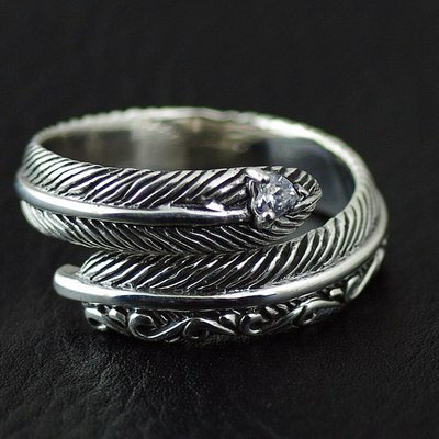 Japan import, designed with opening Female Design Gothic Style feather Silver Gothic Ring