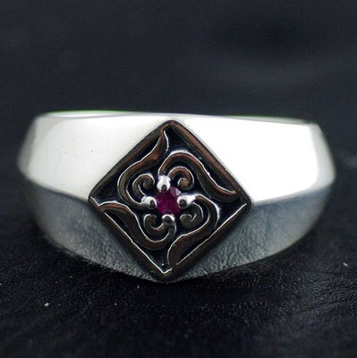 Japan import, 925 Sterling Silver four corners Arabesque stamp Ring