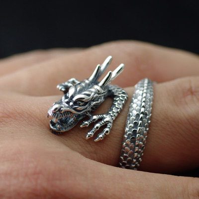 925 Sterling Silver wrapped ring flying dragon adjustable, import Silver Gothic Ring