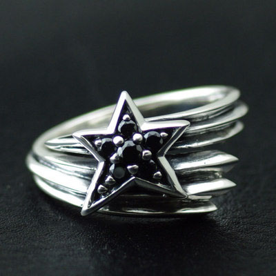 Japan import, 925 Sterling Silver set with black diamond star Meteor Ring