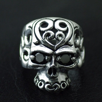 Japan import, 925 Sterling Silver set with diamonds hollow skull Gothic Silver male Ring