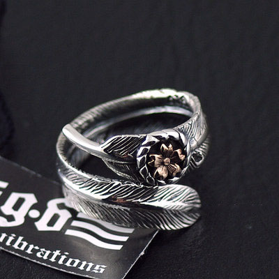 Japan import, Original GV new 925 Sterling Silver sakura flowers feather open Ring