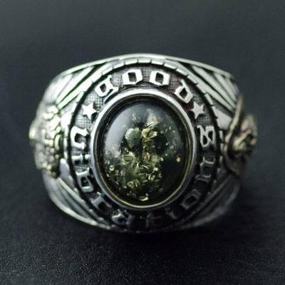 Japan import, Original good vibrations new green Amber holy mother and skeleton ring