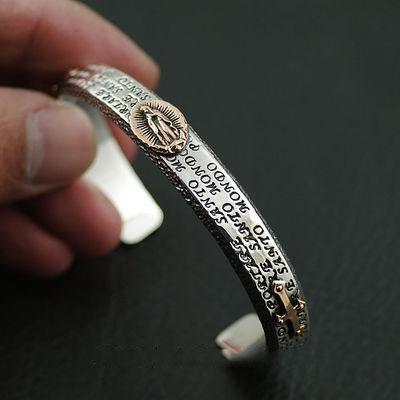 Import Gothic Silver bangle, holy mother and cross 925 Sterling Silver bangle