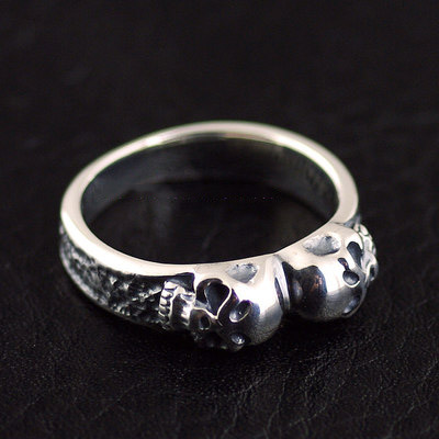 Japan import, fine double skeleton Silver Gothic Ring, (can be tail ring)
