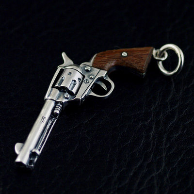 Japan import, 925 Sterling Silver small size Miniature Colt revolver pendant