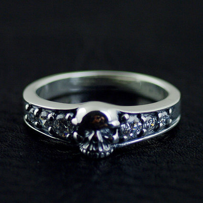 Japan import, carefully set with diamonds skull Silver Gothic Ring, (can be tail ring)