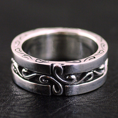 Japan import, thick and heavy solid full pattern 925 Sterling Silver finger loop, Silver Gothic Ring