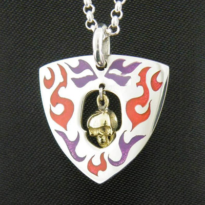 paint flame Golden skeleton 925 Sterling Silver guitar Paddles pendant