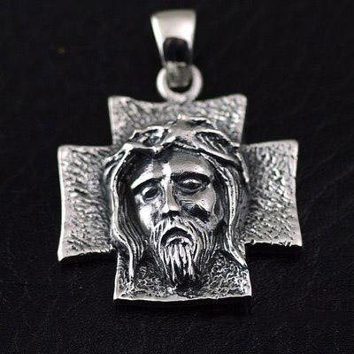 Japan import, Gothic Style rustic 925 Sterling Silver Jesus head alike cross pendant