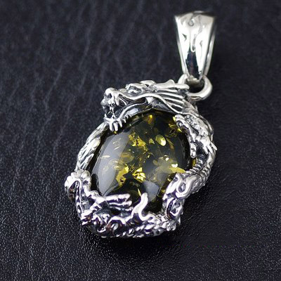 Japan import, Original OV Amber flying dragon Gothic Silver pendant