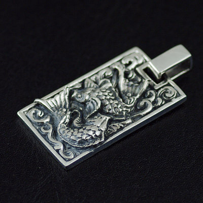Japan import, Retro style 925 Sterling Silver double fish Pendant