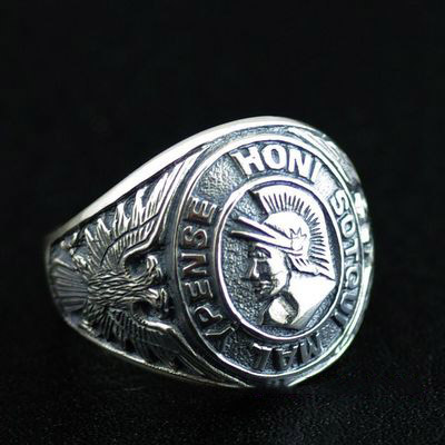 Japan import, Rome Horn Warrior imported Silver Gothic Ring