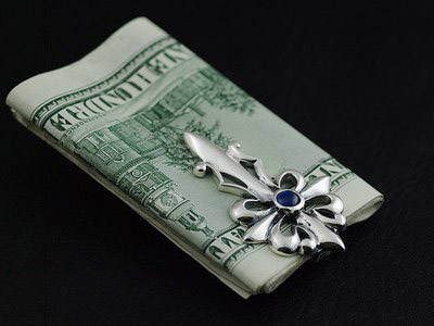 Japan import, set precious stone silver cross money clip,