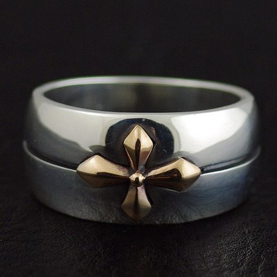 Japan import, 925 Sterling Silver Golden cross surround round ring