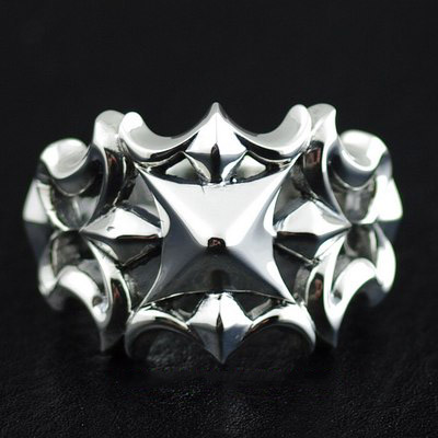 Japan import, 925 Sterling Silver hollow cross glare Silver Gothic Ring