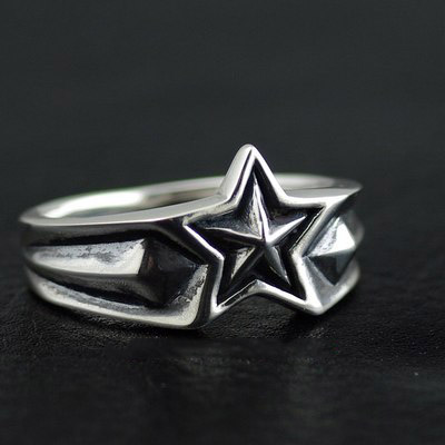Japan import, 925 Sterling Silver five star Silver Gothic Ring