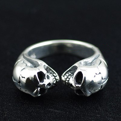 Japan import, double skeleton protector open Silver Gothic Ring