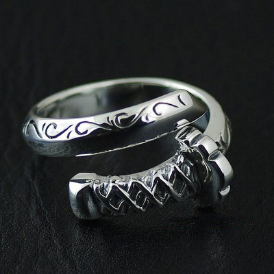 Japan import, 925 Sterling Silver Japan sword samurai open Ring