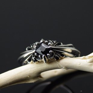 Japan import, 925 Sterling Silver set with black princess cut Gothic Style Silver Gothic Ring