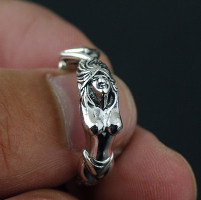 Japan import, mermaid fish Silver Gothic Ring