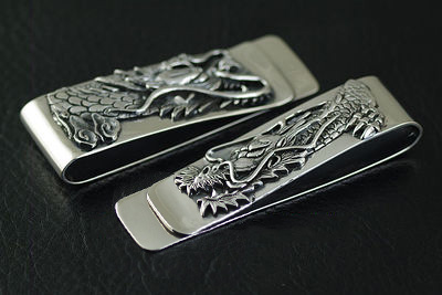 Japan import, Relief flying dragon 925 Sterling Silver money clip Gothic Silver notes clip