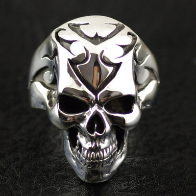 Japan import, hide wear CRAZY PIG tattoo skull Ring
