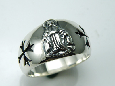 Japan import, holy mother cross 925 Sterling Silver Ring