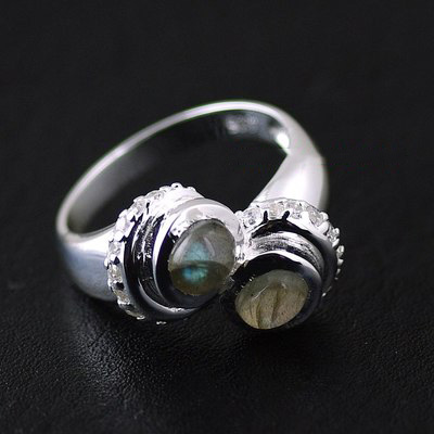 Japan import, Female Design Labradorite double ring surface 925 Sterling Silver Ring