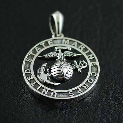 Japan import, 925 Sterling Silver America Marines medal pendant
