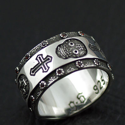 Japan import, Original GV new 925 Sterling Silver cross and skeleton Gothic Silver finger loop Ring