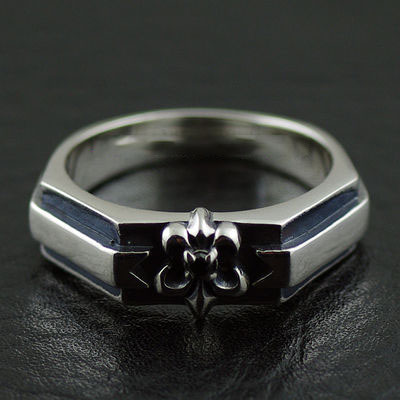 Japan import, 925 Sterling Silver fine flower anchor simple Gothic Style Male design Silver Gothic Ring