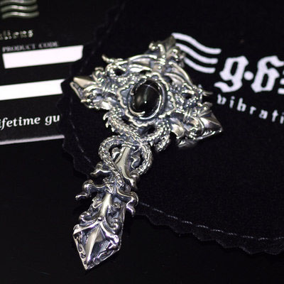 Import Gothic Silver, Original good vibrations carefuly crafted double dragon protector Gothic Silver cross pendant