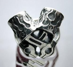 925 Sterling Silver CRAZY PIG engine piston male import Silver Gothic Ring