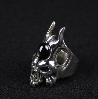 Japan import, CRAZY PIG devil skeleton Silver Gothic Ring