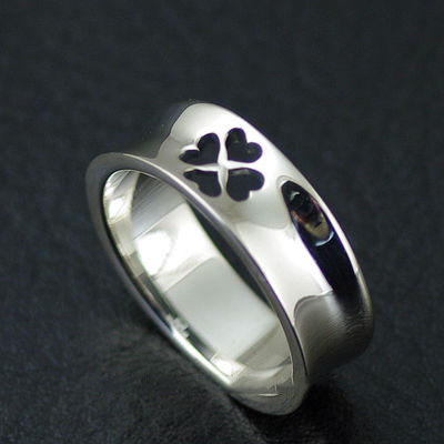 Japan import, Female Design hollow clover Gothic Silver finger loop Ring