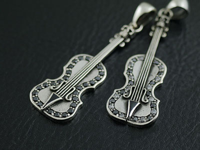 Japan import, 925 Sterling Silver minature violin pendant