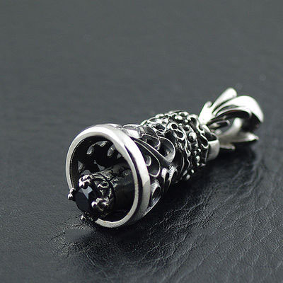 Japan import, Gothic Style rustic hollow Gothic Silver bell pendant