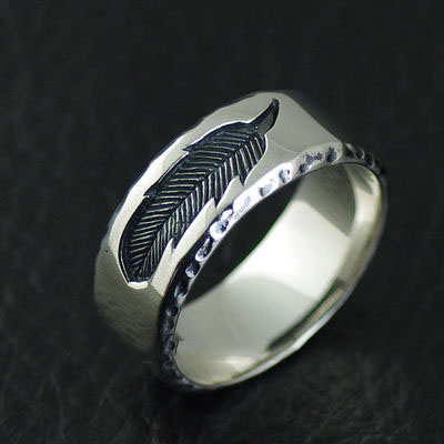 Japan import, feather engrave 925 Sterling Silver Ring
