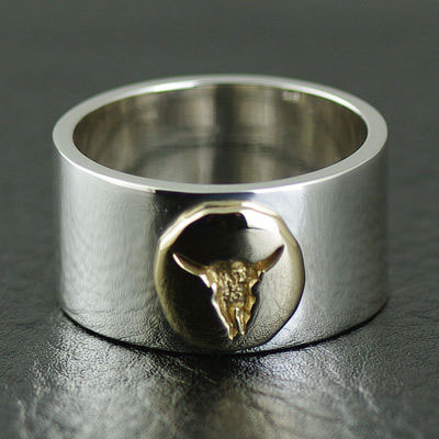 Japan import, GORO design Golden bull head Indiana style silver Ring